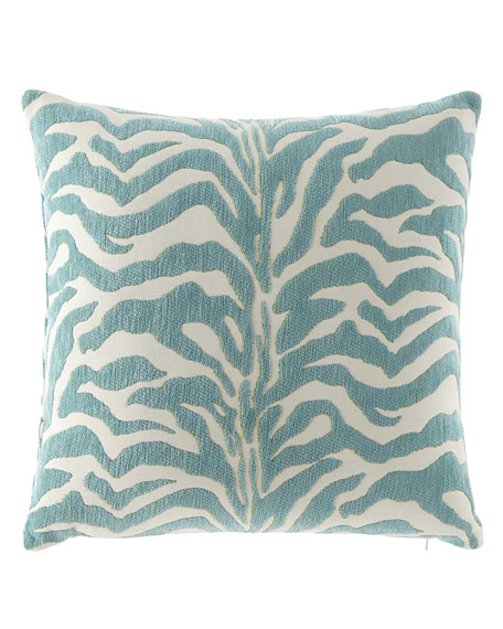 Elaine Smith Aqua Zebra-Print Outdoor Pillow
