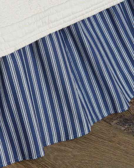 Queen Country Toile Striped Dust Skirt