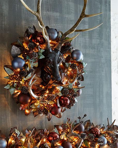 Pewter bronze pre lit quot christmas wreath