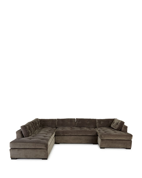 """Old Hickory Tannery McLain Gray 3-Piece Left-Side Chaise Sectional 136.5"""""""