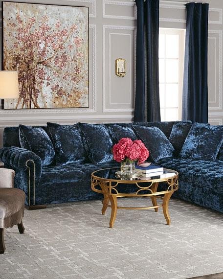 "Haute House Divine Crushed Velvet Right Chaise Sectional 114"""