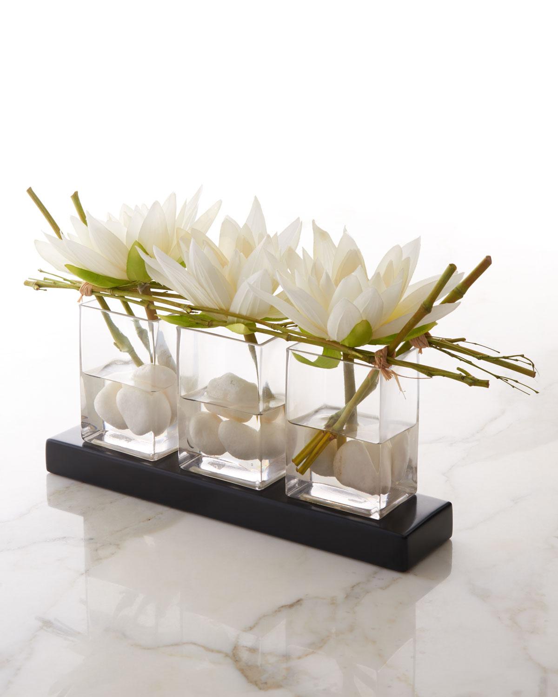 Silk floral arrangement neiman marcus quick look john richard collection water lilies faux floral arrangement reviewsmspy