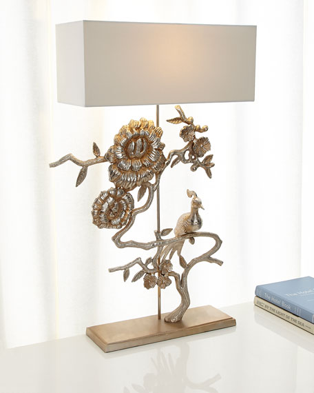 John-Richard Collection Morning Peacock Lamp