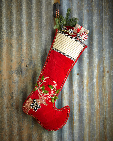 Jeweled Deer Christmas Stocking