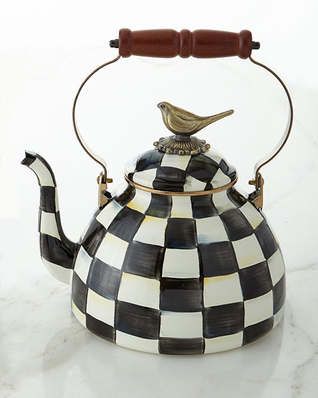 Courtly Check 3-Quart Tea Kettle with Bird