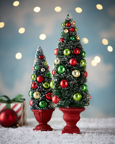 Red/Green/Gold Miniature Trees, 2-Piece Set