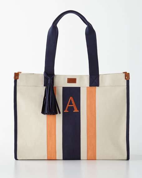 Navy/Orange Monogrammed Tote with Tassel