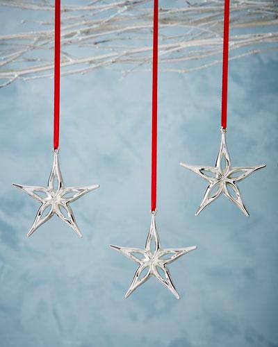 Mini Star Christmas Ornaments, Set of 3