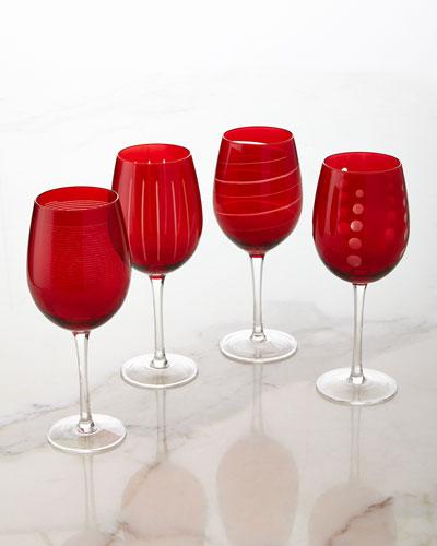 Cheers Ruby Wine Glasses  4-Piece Set