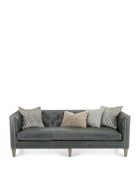 "Massoud McQueen Leather Sofa 90"""