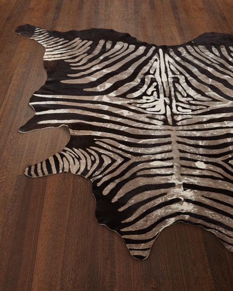 Crisp Zebra-Print Hairhide Rug, 5' X 7