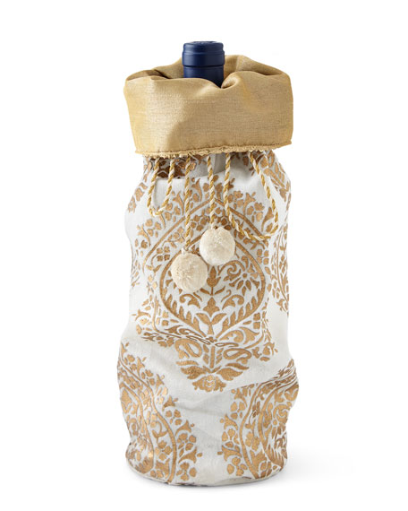 Ivory & Gold Khari-Print Wine Bag