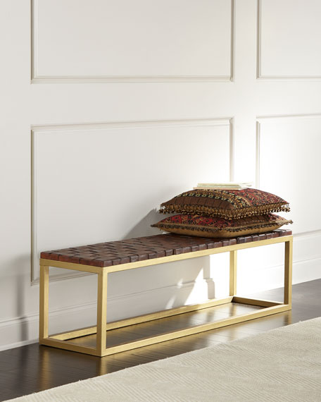 Hildago Woven Leather Bench