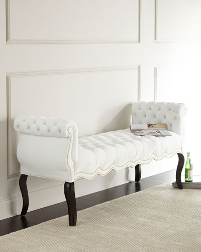 White Rebecca Tufted Bench
