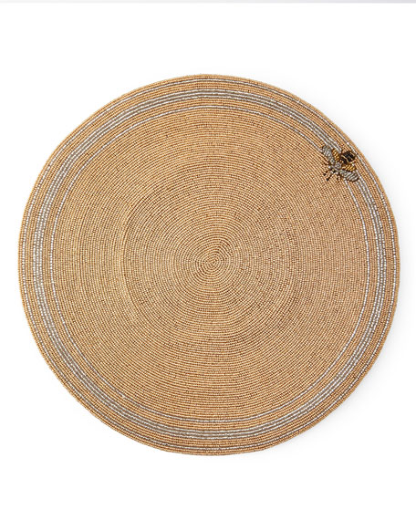 Striped Bee Beaded Placemat
