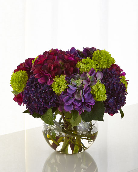 Hydrangea Snowball Faux-Floral Arrangement