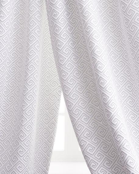 """Two 96""""L Greek Key Curtains"""