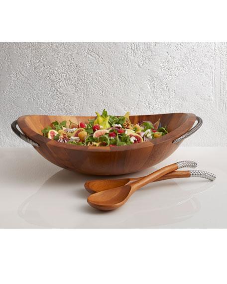 Nambe Braid Wood Salad Bowl with Servers
