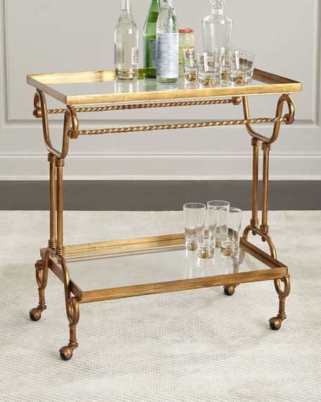 Amy Gold-Leaf Serving Cart