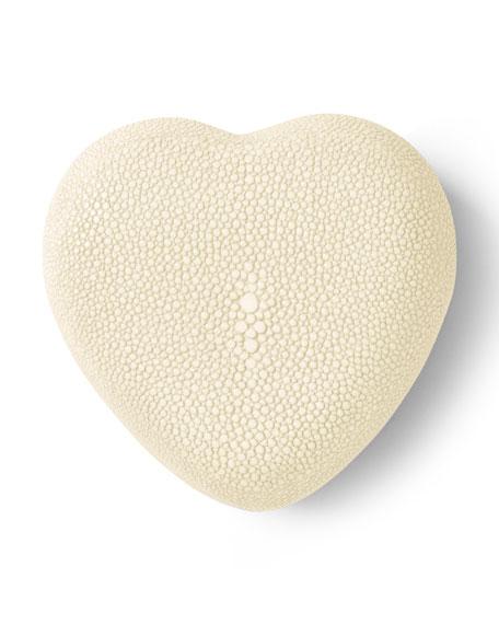 AERIN Embossed Faux-Shagreen Heart Box