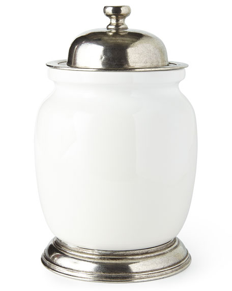 Neiman Marcus Large Ceramic & Pewter Canister