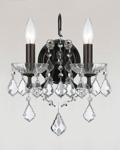 Crystorama Filmore Two-Light Elements Crystal Bronze Sconce