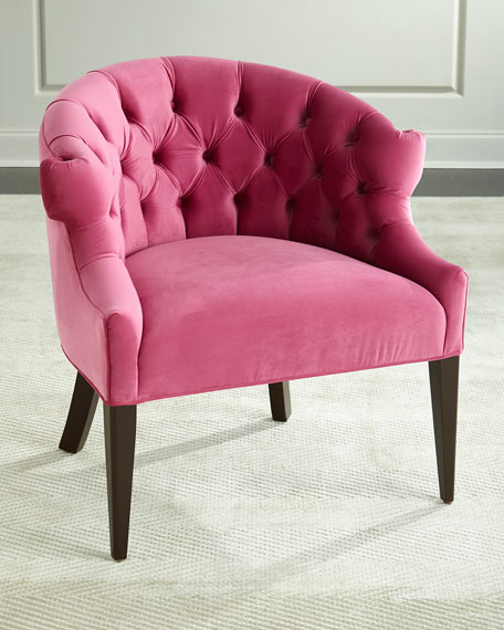 Image 1 of 3: Haute House Melina Tufted-Back Chair, Pink