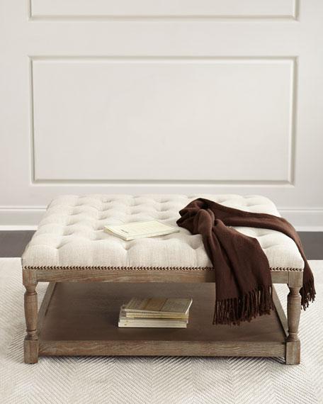 Cade Tufted Linen Ottoman