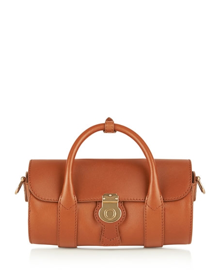 Burberry Small Leather Barrel Bag, Light Brown