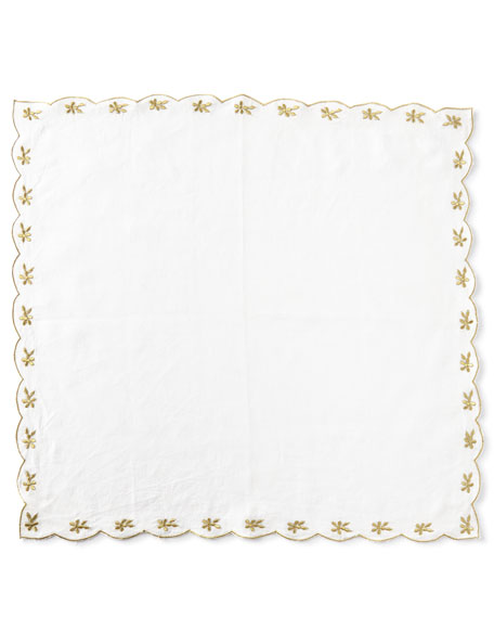 Nomi K Flower-Embroidered Linen Napkin, Gold