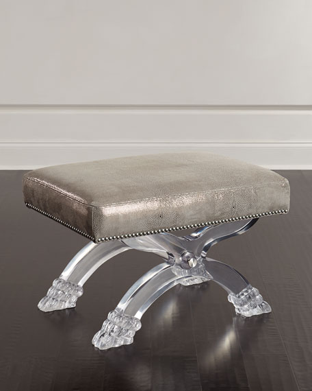 Massoud Robinson Leather Stool, Gray Metallic