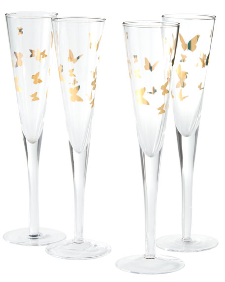 Four Gold Butterfly Champagne Flutes