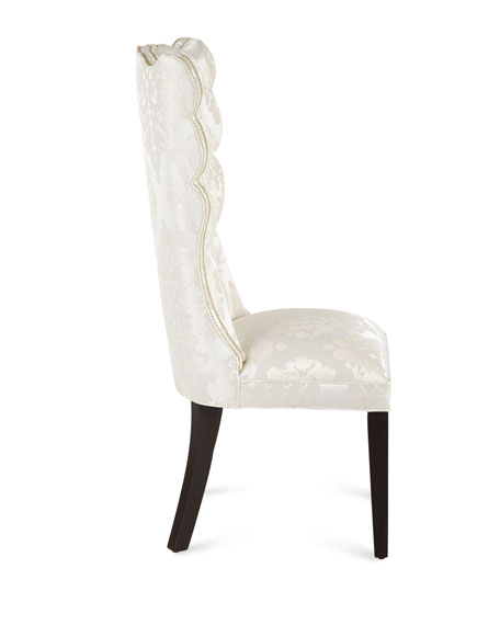 Image 3 of 5: Haute House Pantages Damask Dining Chair, Ivory
