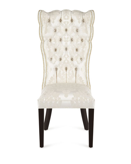 Image 4 of 5: Haute House Pantages Damask Dining Chair, Ivory