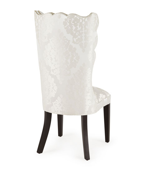 Image 5 of 5: Haute House Pantages Damask Dining Chair, Ivory