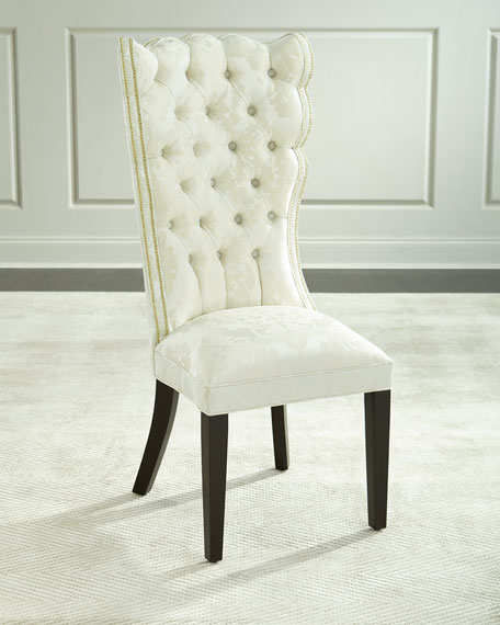 Image 1 of 5: Haute House Pantages Damask Dining Chair, Ivory