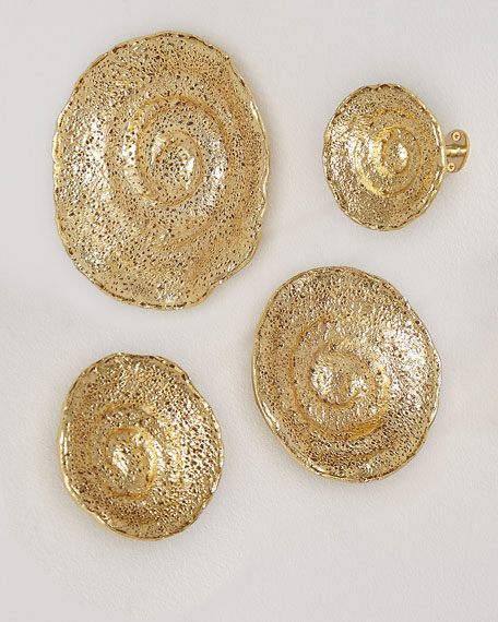 Gold Leaf Escargot Wall Hangings, Set of 4