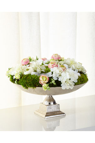 T&C Floral Company Silvertone Urn