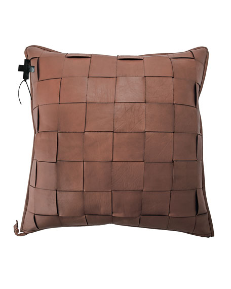 Jan Barboglio Saddle Trenza Woven Leather Pillow