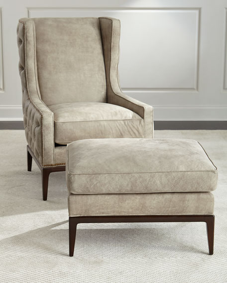Ambella Idris Tufted-Back Leather Wing Chair