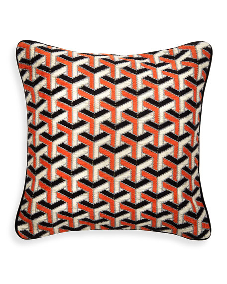 Jonathan Adler Orange 3D Bargello Maze Throw Pillow
