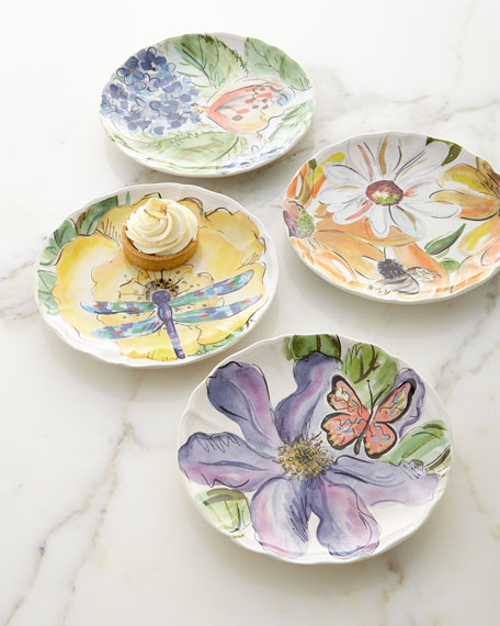 Casafina Set of 4 Assorted Bloomers Dessert Plates
