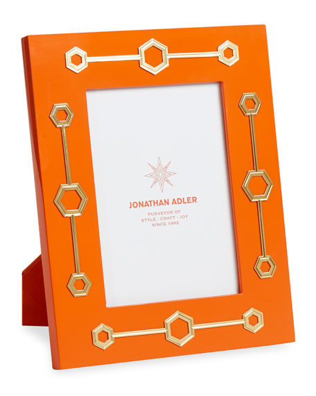Jonathan Adler Turner Lacquer Picture Frame, Orange, 5