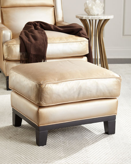 Image 2 of 3: The Eleanor Rigby Leather Company Quinn Metallic Leather Ottoman