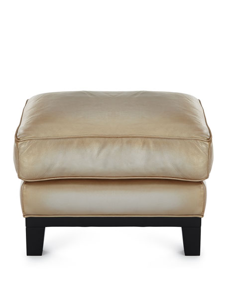 Image 3 of 3: The Eleanor Rigby Leather Company Quinn Metallic Leather Ottoman