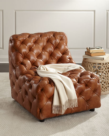Charmant Dunaway Camel Tufted Leather Chair
