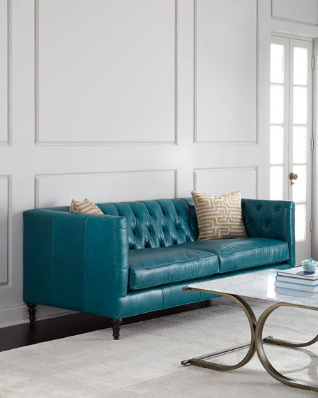 Alexandria Tufted Leather Sofa Neiman Marcus