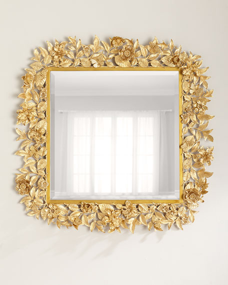 Jay Strongwater Composition Floral Leaf Mirror, 42