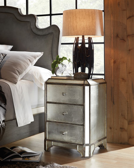 Visage Eglomise Mirrored Nightstand
