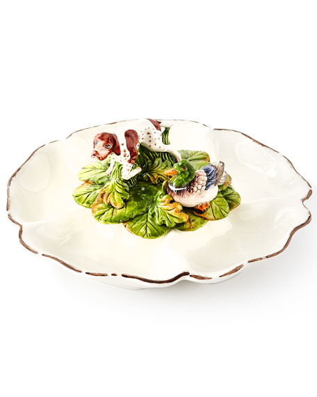 Vietri Wildlife 5-Section Serving Dish with Hunting Dog